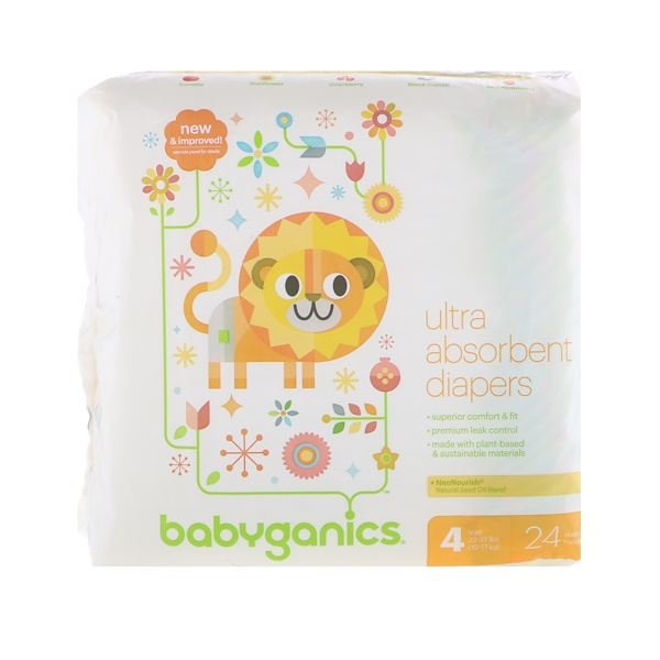 BabyGanics, Ultra Absorbent Diapers, Size 4, 22-37 lbs, (10-17 kg), 24 Diapers (Discontinued Item)