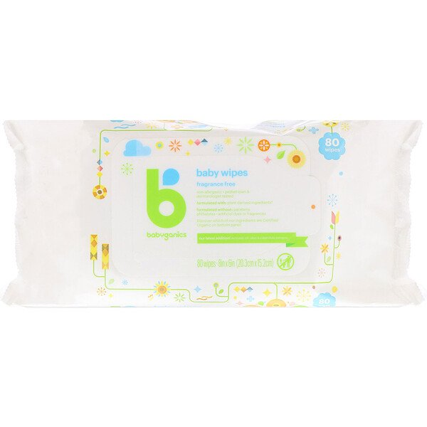 BabyGanics, Baby Wipes, Fragrance-Free, 80 Wipes (Discontinued Item)