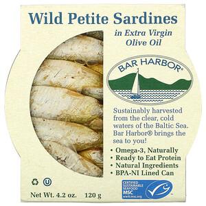 Bar Harbor, Wild Petite Sardines in Extra Virgin Olive Oil, 4.2 oz (120 g)