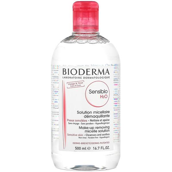 Bioderma, Sensibio H2O, Make-Up Removing Micelle Solution, 16.7 fl oz (500 ml)