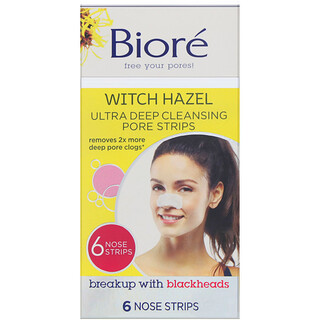 Biore, Ultra Deep Cleansing Pore Strips, Witch Hazel, 6 Nose Strips