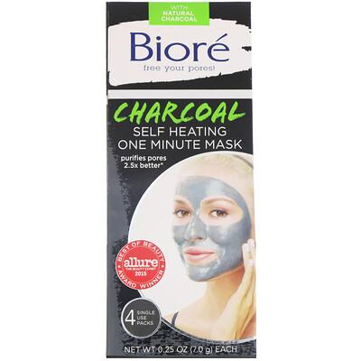 Купить Biore самонагревающаяся одноминутная маска с углем, 4одноразовых пакета по 7г (0, 25унции)