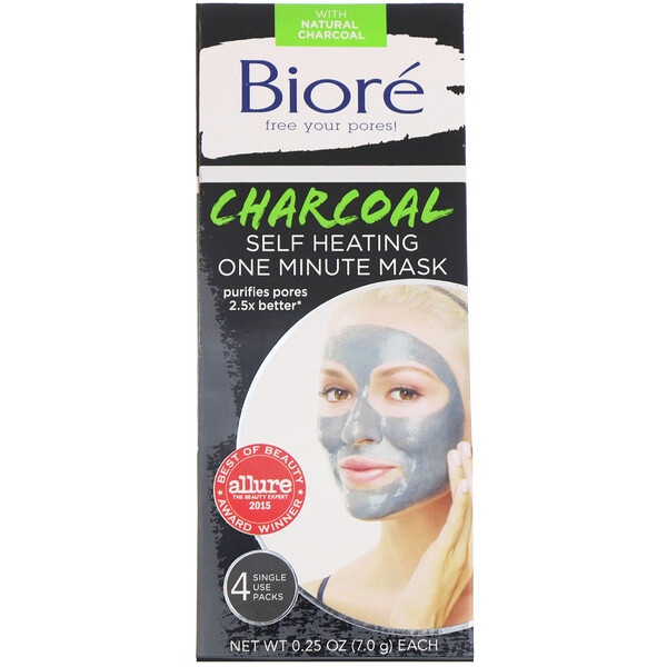Biore, Self Heating One Minute Beauty Mask, Charcoal, 4 Single Use Packs, 0.25 oz (7.0 g) Each
