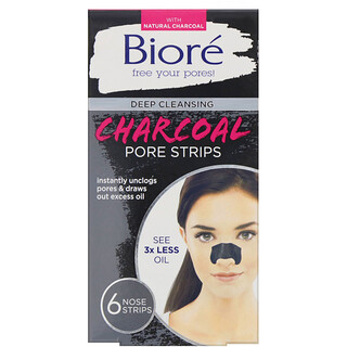 Biore, Deep Cleansing Pore Strips, Charcoal, 6 Nose Strips