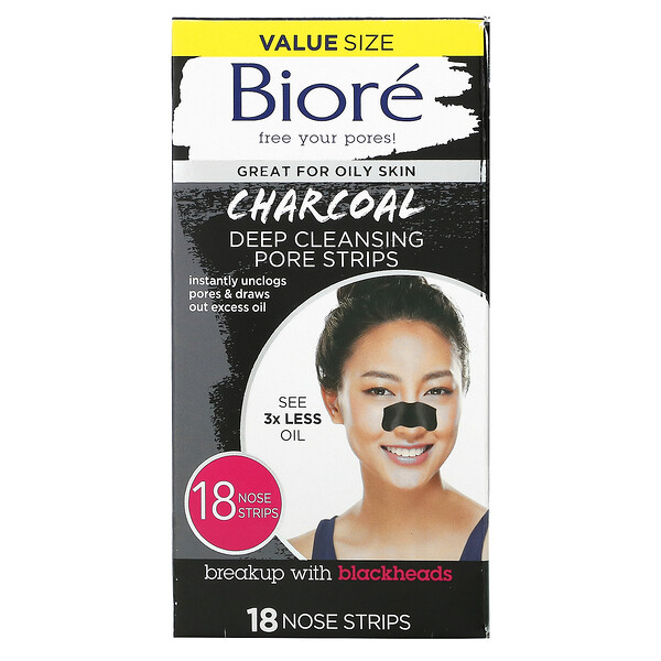 Deep Cleansing Pore Strips, Charcoal, 18 Nose Strips