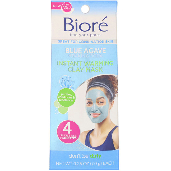 Biore, Instant Warming Clay Beauty Mask, Blue Agave + Baking Soda, 4 Single Use Packs, 0.25 oz (7.0 g) Each
