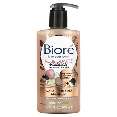 Biore Daily Purifying Cleanser, Rose Quartz + Charcoal, 6.77 fl oz (200 ml)