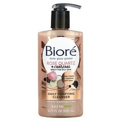 Biore, 每日淨化潔面乳,玫瑰石英 + 木炭,6.77 液量盎司(200 毫升)