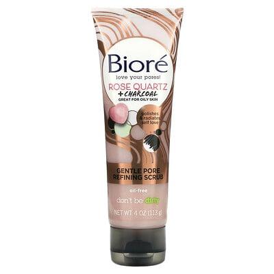 Biore Gentle Pore Refining Scrub, Rose Quartz + Charcoal, 4 oz (113 g)