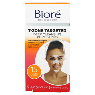 Biore, T-Zone Targeted Deep Cleansing Pore Strips, 15 Strips