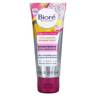 Biore, Brightening Exfoliating Scrub, Yuzu Lemon + Dragon Fruit, 3.5 fl oz (103.5 ml)