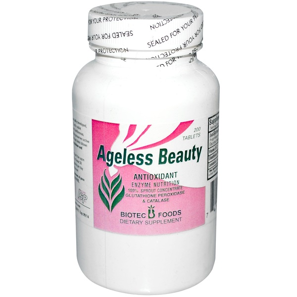 Biotec Foods, Ageless Beauty, Antioxidant Enzyme Nutrition, 200 Tablets (Discontinued Item)
