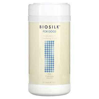Biosilk, Silk Therapy, Moisturizing & Cleansing Wipes for Dogs, 50 Count