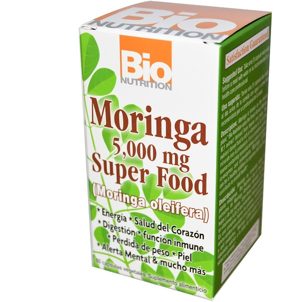 Bio Nutrition, Moringa Super Food, 500 mg, 60 Cápsulas Vegetales