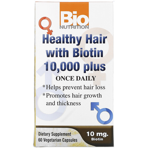 Healthy Hair with Biotin 10,000 Plus, 60 Vegetarian Capsules