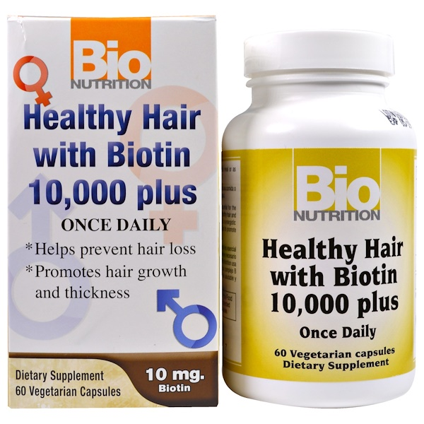 Bio Nutrition, Healthy Hair with Biotin 10,000 Plus, 60 Vegetarian Capsules