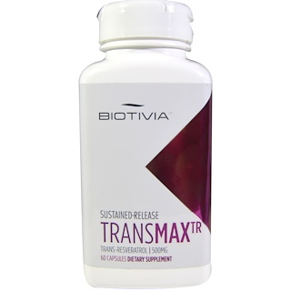 Biotivia, Transmax TR, Trans-Resveratrol, 500 mg, 60 comprimidos con liberación programada