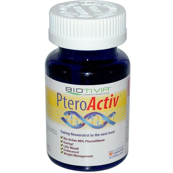 Biotivia, PteroActiv, 250 mg, 30 Capsules (Discontinued Item)