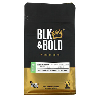 BLK & Bold, Specialty Coffee, Ground, Light, Limu, Ethiopia Natural Processed, 12 oz (340 g)
