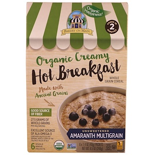Bakery On Main, Organic, Creamy Hot Breakfast, Unsweetened Amaranth Multigrain, 6 Pack, 1.4 oz (40 g) Each