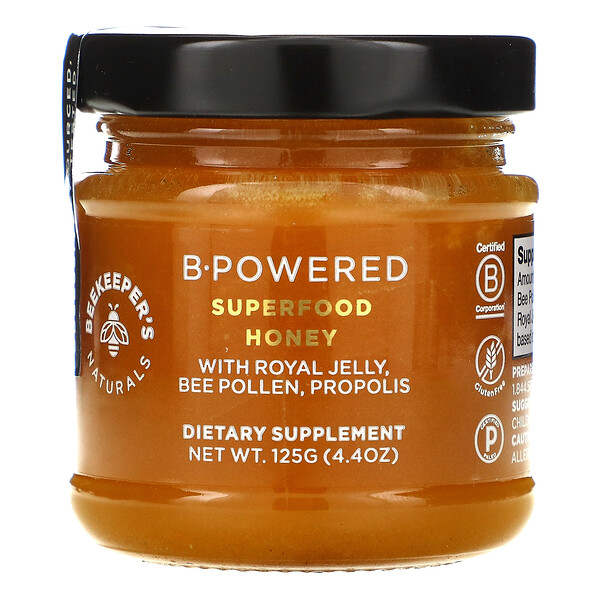 Beekeeper's Naturals, B. Powered Superfood Honey, 4.4 oz (125 g)