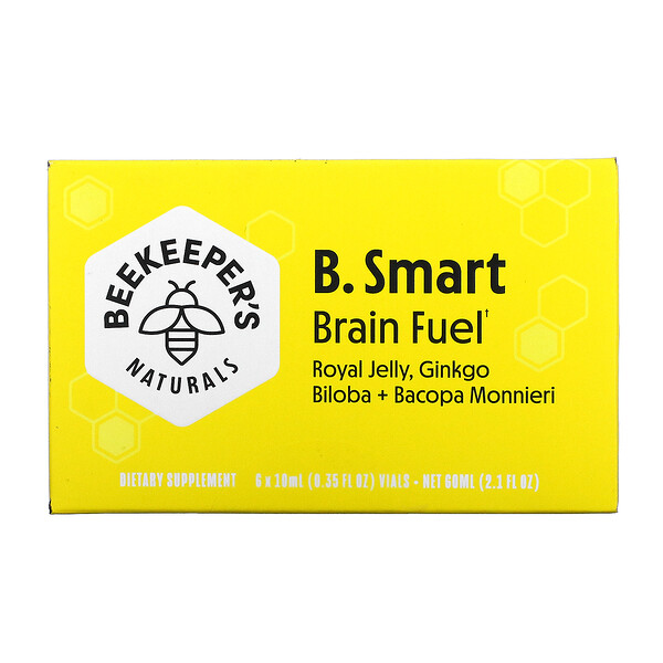 Beekeeper's Naturals, B. Smart Brain Fuel, 6флаконов по 10мл (0,35жидк. унции)