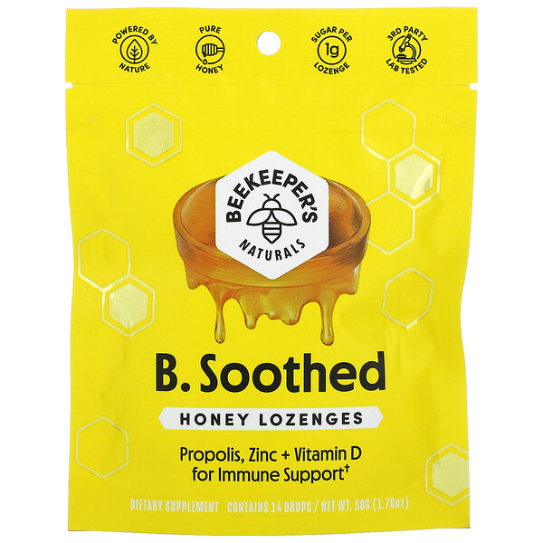 B. Soothed, Honey Lozenges, 14 Drops, 1.76 oz (50 g)