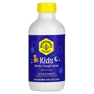 Beekeeper's Naturals, 儿童,蜂蜜咳嗽缓解糖浆,夜间,4 液量盎司(118 毫升)
