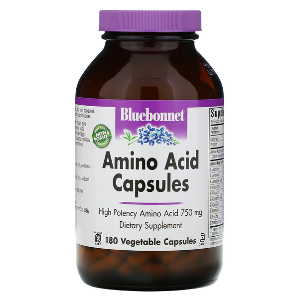 Amino Acid Capsules, 750 mg, 180 Vegetable Capsules