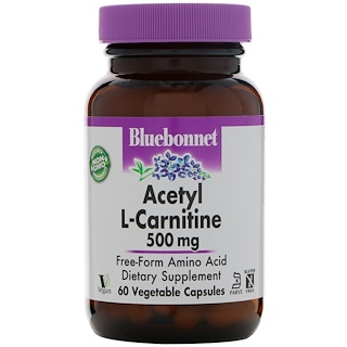 Bluebonnet Nutrition, Ацетил L-карнитин, 500 мг, 60 растительных капсул