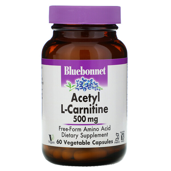 Bluebonnet Nutrition, Acetil L-Carnitina, 500 mg, 60 cápsulas vegetales
