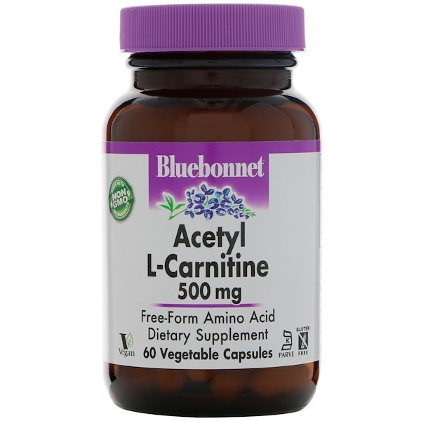 Bluebonnet Nutrition, Acetyl L-Carnitine, 500 mg, 60 Vegetable Capsules