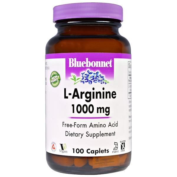 Bluebonnet Nutrition, L-аргинин, 1,000 мг, 100 капсулообразных таблеток
