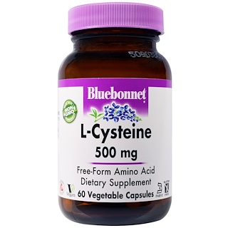 Bluebonnet Nutrition, L-цистеин, 500 мг, 60 капсул в растительной оболочке