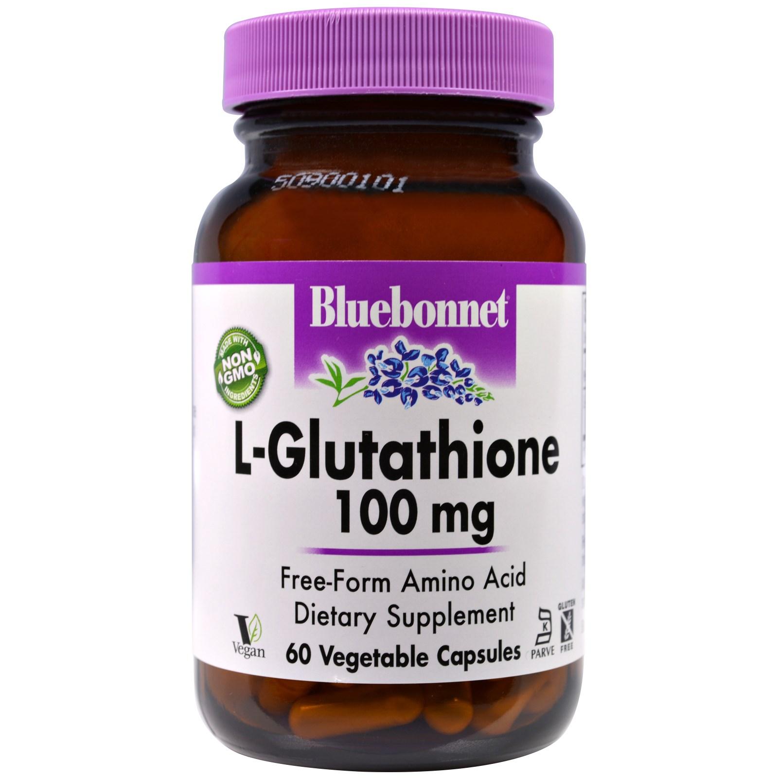 Bluebonnet Nutrition, L-глутатион, 100 мг, 60 вегетарианских капсул