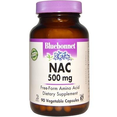 Купить Bluebonnet Nutrition NAC, 500 мг, 90 растительных капсул