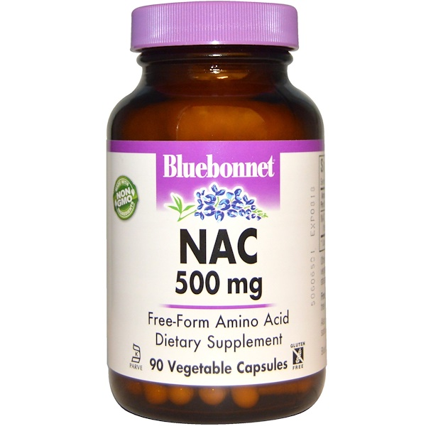 Bluebonnet Nutrition, NAC, 500 mg, 90 Cápsulas Vegetales