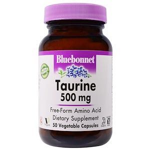 Bluebonnet Nutrition, Таурин, 500 мг, 50 вегетарианских капсул
