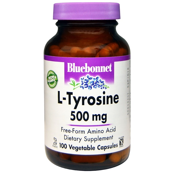 Bluebonnet Nutrition, L-Tyrosine, 500 mg, 100 Veggie Caps (Discontinued Item)