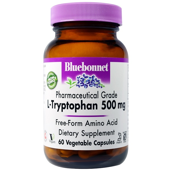 Bluebonnet Nutrition, L-Tryptophan, 500 mg, 60 Vegetable Capsules