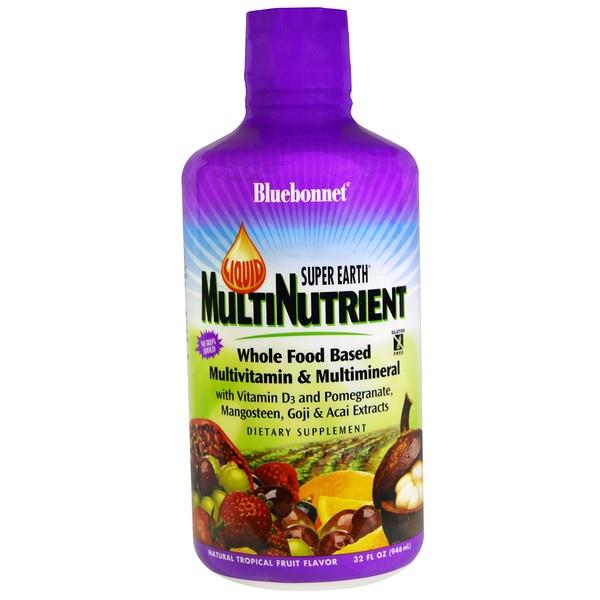 Bluebonnet Nutrition, Liquid Super Earth Multinutrient, Multivitamin & Multimineral, Natural Tropical Fruit Flavor, 32 fl oz (946 ml)