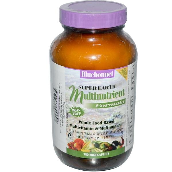 Bluebonnet Nutrition, Super Earth Multinutrient Formula, Iron Free, 180 Mini-Caplets (Discontinued Item)