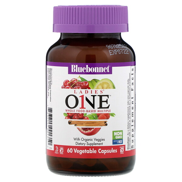 Bluebonnet Nutrition, Ladies' ONE, Whole Food-Based Multiple, 60 Vegetables Capsules