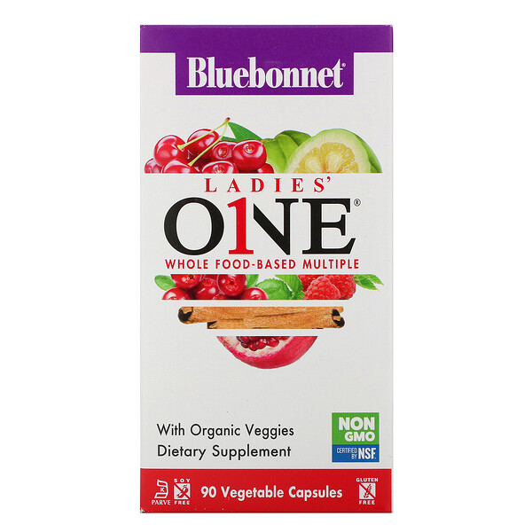 Bluebonnet Nutrition, Ladies' ONE, Whole Food-Based Multiple, 90 Vegetable Capsules