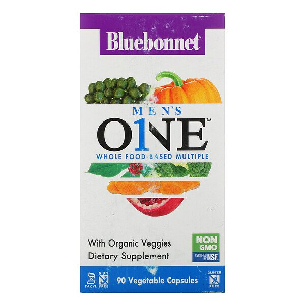 Bluebonnet Nutrition, Men's ONE, Whole Food-Based Multiple, 90 Vegetable Capsules