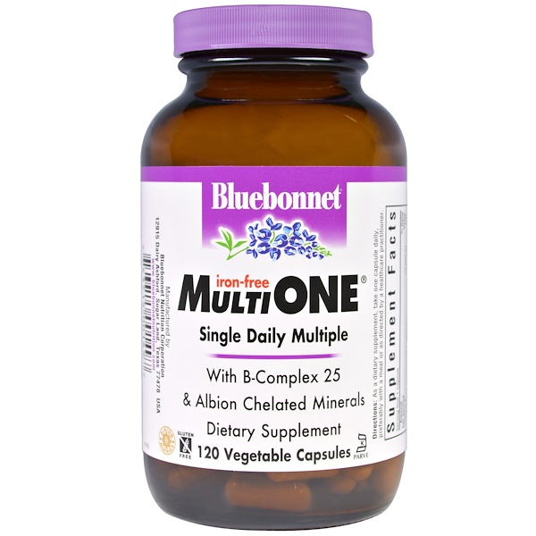 Bluebonnet Nutrition, Multi One, Single Daily Multiple, Iron-Free, 120 Veggie Caps