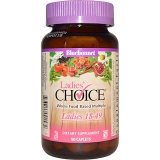 Bluebonnet Nutrition, レディースチョイス(Ladies Choice), 自然食品ベースのマルチプル,  18-49歳の女性に, 90カプレット