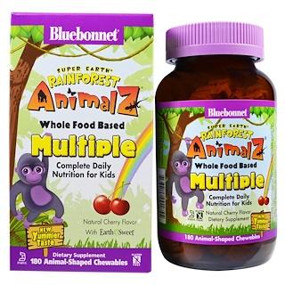 Bluebonnet Nutrition, Super Earth, Rainforest Animalz, Whole Food Based Multiple, Natural Cherry Flavor, 180 Chewables