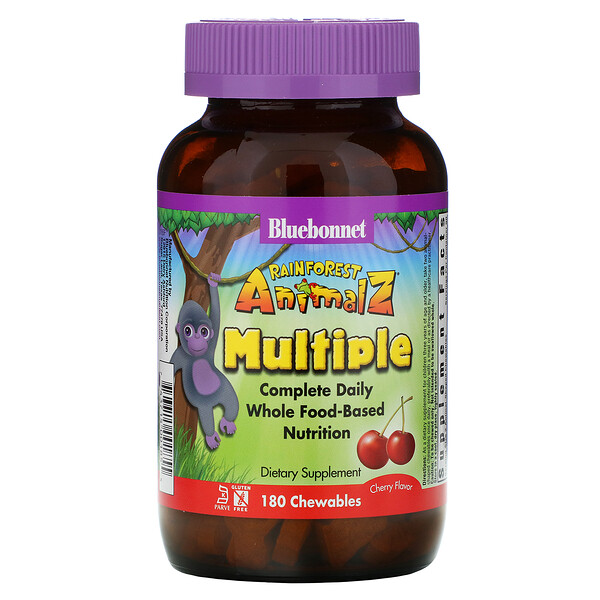 Bluebonnet Nutrition, Rainforest Animalz, Complete Daily Whole Food-Based Nutrition, Cherry Flavor, 180 Chewables