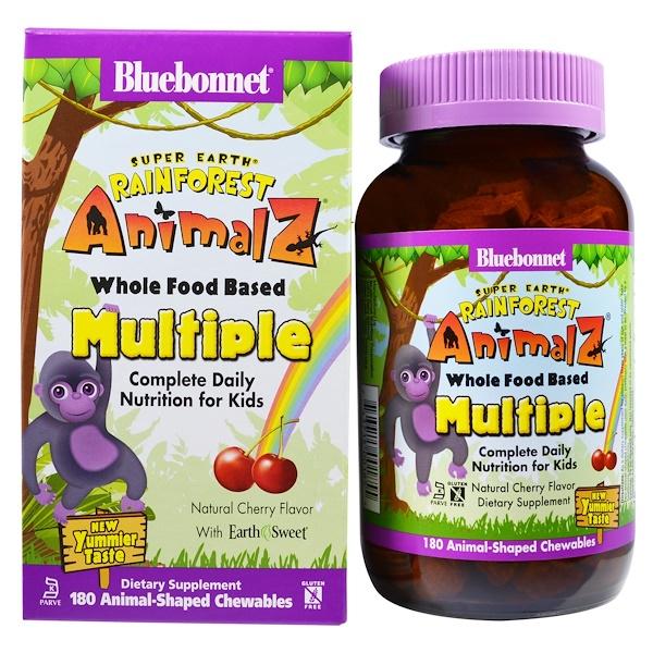 Bluebonnet Nutrition, Rainforest Animalz, Whole Food Based Multiple, Natural Cherry Flavor, 180 Chewables